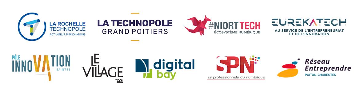 Technopole La Rochelle - Technolople Grand Poitiers - Niortech - Eurekatech - Pole innovation de Saintes - Le Village par CA - Digital Bay - SPN - Réseau entreprendre